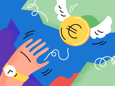Waste Money vector bank coins coin arm texture illustration expend spend away fly watch hand euro money waste