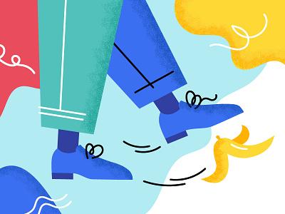 Mistake man texture illustration foot boots peel banana leg legs slip step wrong error mistake