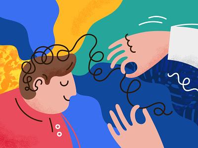 Psychologist naive illustration unravel line texture doctor hand man psychology psychologist