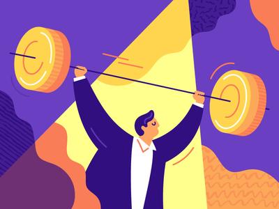 Make Millions banking bank texture illustration barbell effort weightlifting job work man money force strength millionaire