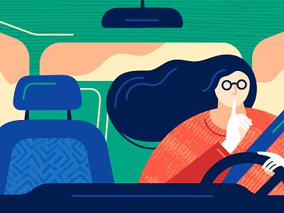 Secret texture illustration drive front window windshield vehicle driver hair girl car secret