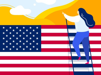 What's there in USA? united states desert stairs climb girl flag country america usa