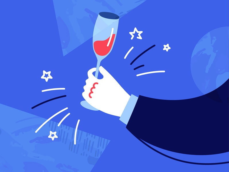 Friday! stars arm restaurant rest holiday jingle ring liquor alcohol goblet wine glass wine glass evening party hand texture illustration friday