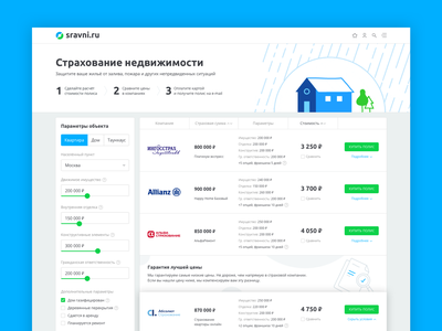 Estate Insurance Page uiux table proposal calculator product design product protect appartment house home estate insurance illustration web design webdesign website web page interface ui