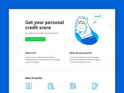 Credit Score ui design uidesign landing page landing icon phone hand vector design ui illustration animation credit score score rating rate loan credit credit card