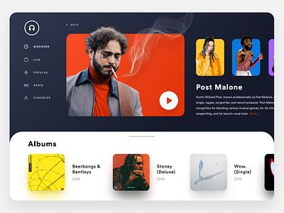 Music Streaming Dashboard | Web App Design music player music streaming childish gambino billie eilish post malone spotify music app website ui ux seattle design branding
