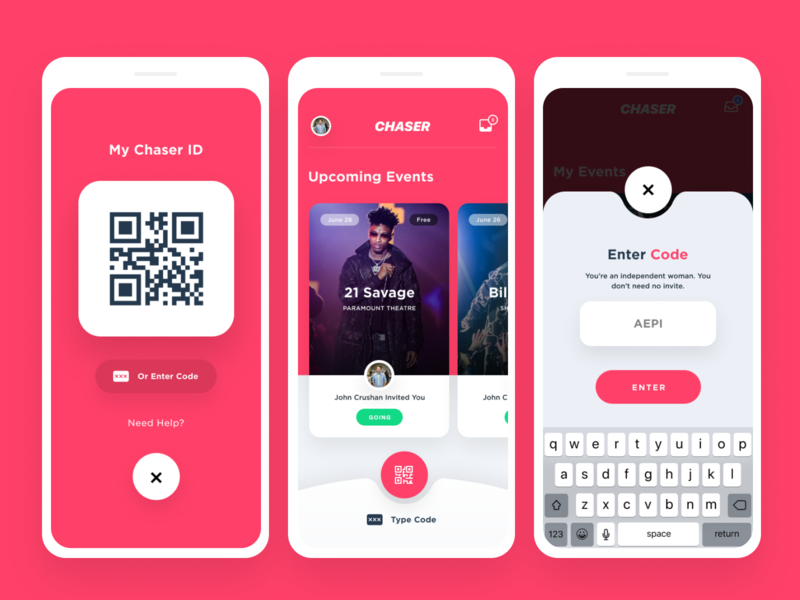 Event Management / Ticketing App | Chaser mobile app event music designer events app events app branding ui ux seattle design
