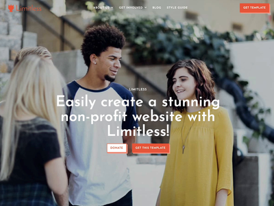 Limitless Website Template parallax animation figma website template clean responsive dark mode landing page small business non-profit example template webflow template webflow website concept website design web design website