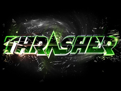 Thrasher thrasher logo logotype type typo letter 3d electro music event destroy drum and bass 127 chrome design medoks medox neon graphic typography broken dnb electronis dubstep party parties movement space green light