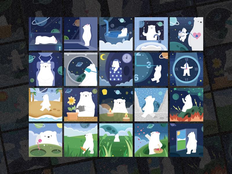 冥想星球  6/X meditation polarbear illustration