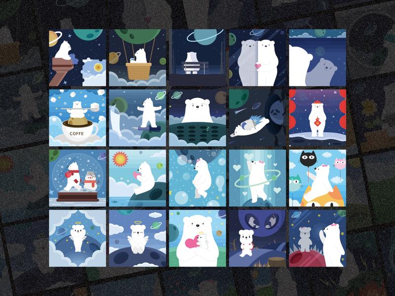 冥想星球 7/X meditation polarbear illustration