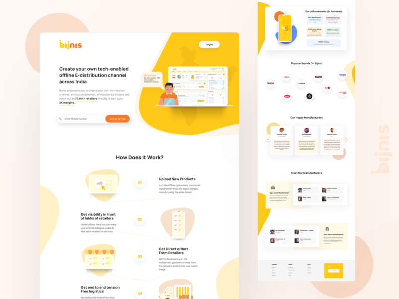 Redesigned Landing page of Bijnis business b2b web ui design homepage dashboard design home page design how does it wok testimonial website website design webdesign landing page design