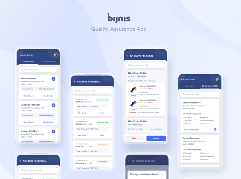 Bijnis Quality Assurance App homepage design testing quality check quality 2020 trends 2020 design user interface design user experience mobile app design status update ratings customer experience product card product page product design app product listing page homepage android app design android app
