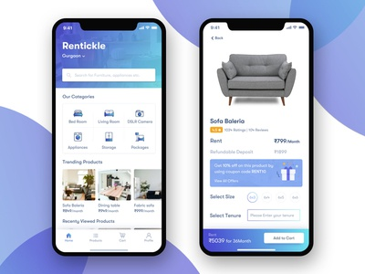 Rentickle app screens renting app product page home screen iphone 10