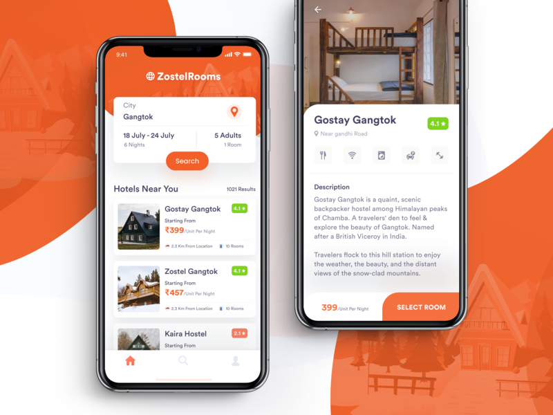 ZostelRoom Booking App room house hostels booking dorm booking. travel app booking app homestay concept room booking iphone xs hotels product page homepage zostel room app hotel booking hotel app
