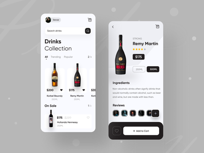 Drinks App Exploration uxdesign modern design trending ui best shot top best designer best design popular design webdesign mobile ui app app design ui design web app typography creative design popular trending graphics ios android interface minimal clean new trend dribbble best shot