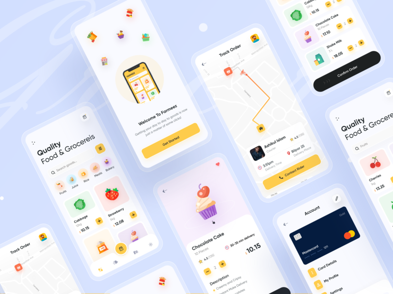 Grocery App Store (All Screens) 🔥🔥 clean 2020 trend popular shot popular design uxdesign uidesign rideshare trending design best design best shot app design grocery app best designer modern design ui creative design popular trending graphics ios android interface minimal clean new trend dribbble best shot