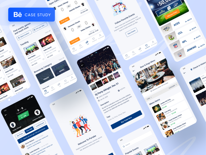 Partake Pay || Event, Sports, Concession, Ticket App Case Study minimal clean new trend popular trending graphics best shot creative design popular design popular shot mobile design mobile app event food sport casestudy best in behance behance ios app