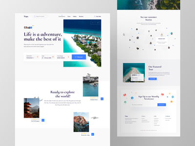 Tripo - Tour Planner Web Design Exploration 🔥🔥 website design products dashboard ui tourism booking app booking best designer top travel agency travel app traveling tour trending ui popular shot popular design creative design ios android interface popular trending graphics minimal clean new trend dribbble best shot