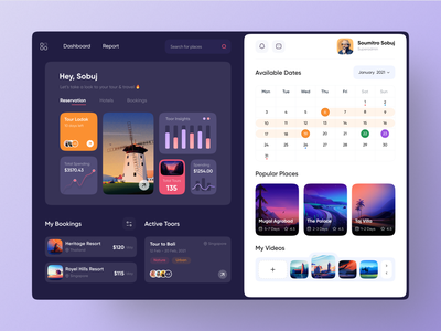 Tour Dashboard UI Exploration 🔥📚 best design travel agency tour dashboard popular design popular shot travel app tour landing page design modern design creative design popular trending graphics minimal clean new trend dribbble best shot