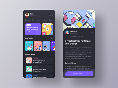News App Exploration blog app black ui dark ui trendy graphicsdesign trending design application design app design interfacedesign uxui ios app dribbble best shot modern creative design designer news app ios app design clean design best app design illustration