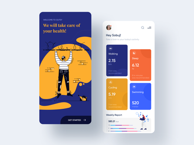 Health Tracking App Exploration 2019 design trend design app health care best designer modern design creative design ios app android wear illustration design trendy design mobile design designer healthcare app health app design google analytics statistics minimal clean new trend ios android interface dribbble best shot