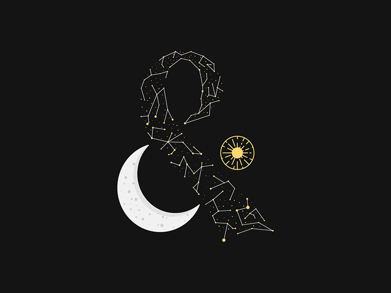 And the sun will rise and we will try again moon stars space typography type illustration hand drawn drawn type hand lattering lattering ampersand