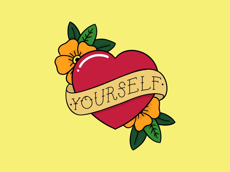 Love Yourself heart tattoo flower floral design lettered letter hand drawn drawn type type quote letters lettering hand lettering typography illustration