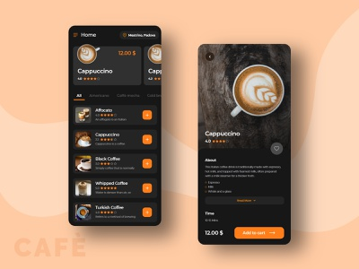 CAFÈ clean ui business branding artist app design dribble shot