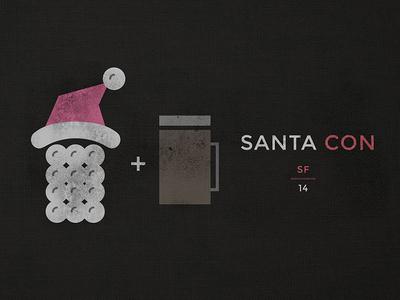 Santacon Doodle illustration icon vector marketing print t-shirt poster san francisco santa con logo outline illustrator
