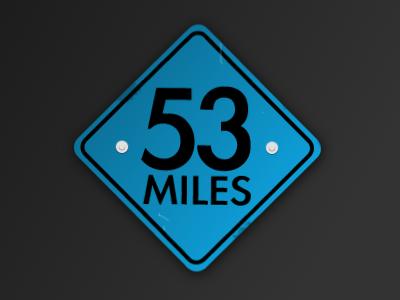 53 Miles sign traffic miles icon