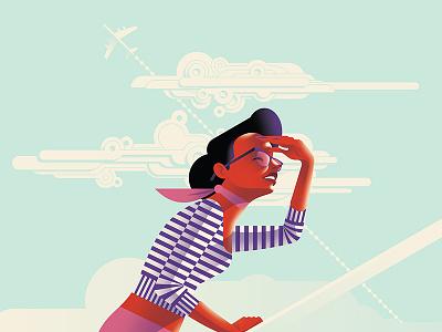 Cruise ship sea clouds hepburn flat colour vector fashion beauty travel fifties