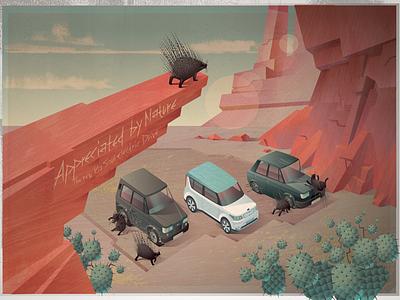 Electric car ad desert porcupine electriccar cars kia