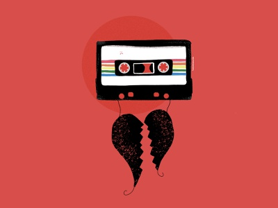 Sad Heart Mixtape 💔 procreate 1980s retro tech mixtape feelings illustration