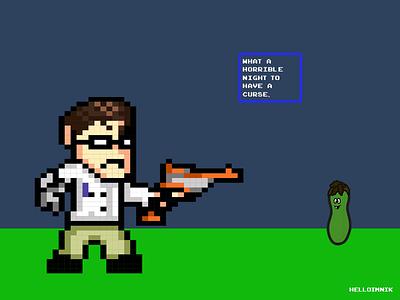 Angry Video Game Nerd vs Shit Pickle adobe illustrator graphic design illustration nerd videogames gaming pixel art avgn