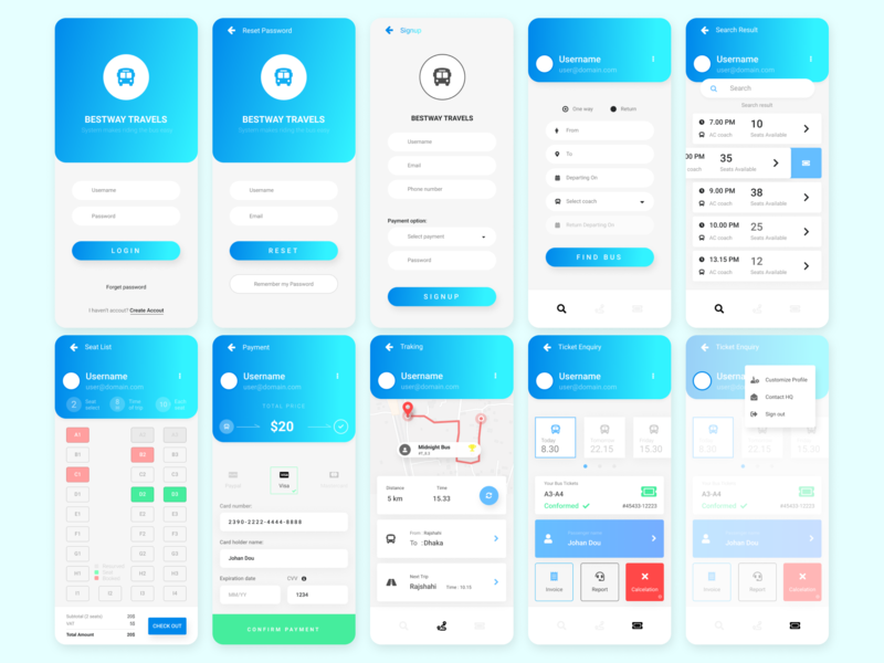 Seats booking for bus android application UI/UX Design by Md