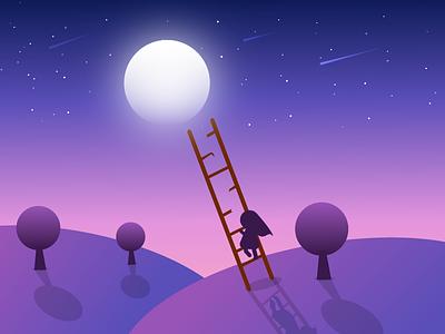The Climb dedication commitment hard work illustration climb moon ladder