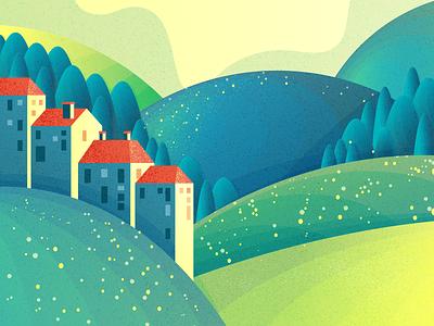 Hill and Houses landscape houses hills adobephotoshop adobeillustator texture illustration