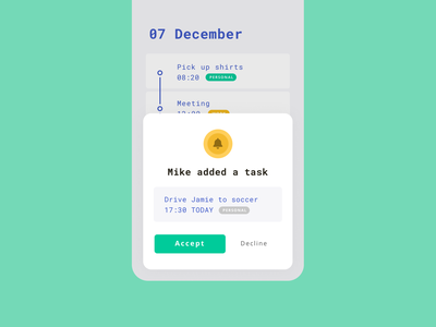 Daily UI 16 — Pop-Up / Overlay flatdesign flat pop-up  overlay overlay popup mobile todo app task app 016 todo calendar task ux vector design ui daily ui challange dailyui