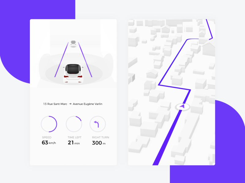 Daily UI 20 — Location Tracker tracker location 020 location tracker self-driving car autonomous navigation maps vector ux design ui daily ui challange dailyui