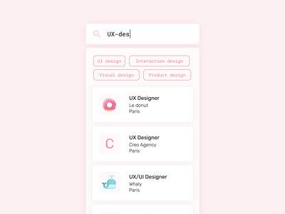 Daily UI 22 — Search daily ui challenge onboarding app introduction blue job jobs search box sweet mobile branding search bar search ux design ui dailyui