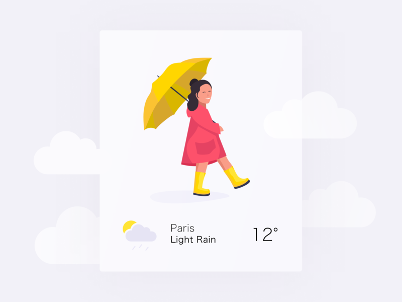Daily UI 37 — Weather rain weather umbrella raincoat girl colorful illustration app branding vector daily ui challenge design ux ui dailyui