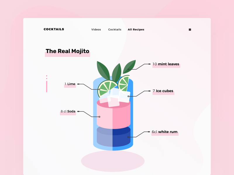 Daily UI 40 — Recipe 040 recipe cocktail anatomy pink colorful illustration desktop branding daily ui challenge design ux ui dailyui