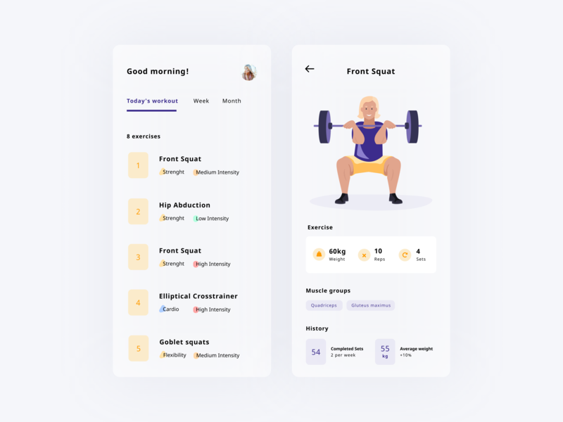 Daily UI 41 — Workout Tracker mobile exercise workout app charachter squat illustration vector daily ui challenge design ui dailyui