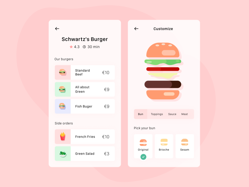 Daily UI 43 — Food/Drink Menu delivery colorful mobile app illustration ux design ui menu food app food dailyui 043