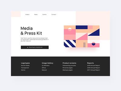 Daily UI 51 — Press Page media media kit press kit press pattern geometrical 051 web desktop branding daily ui challenge ux ui design dailyui