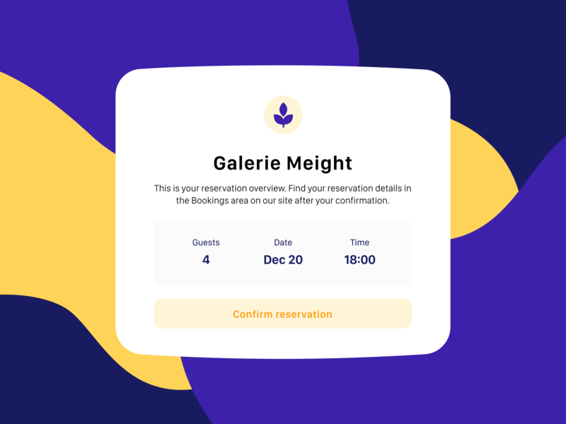 Daily UI 54 — Confirm Reservation 054 reservation confirm confirm reservation colorful vector branding daily ui challenge ux design ui dailyui