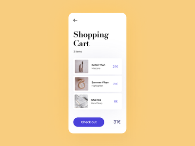 Daily UI 58 — Shopping Cart daily ui challenge design ui dailyui