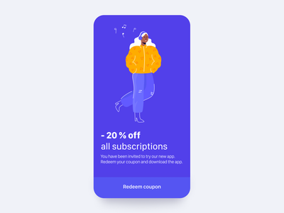 Daily UI 61 — Redeem Coupon flat blue mobile illustration app colorful branding vector daily ui challenge ux design ui dailyui