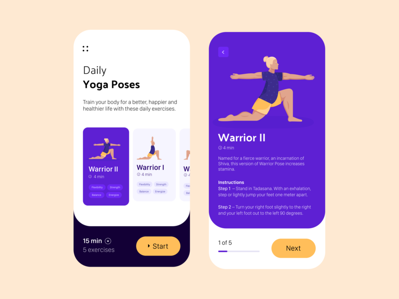 Daily UI 62 — Workout Of The Day colorful exercise workout yoga mobile illustration app branding vector daily ui challenge ux design ui dailyui